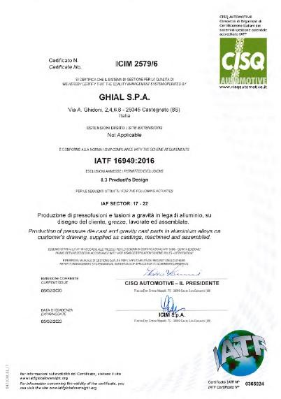 Certificato CISQ: IATF 16949:2016 nr 0365024
