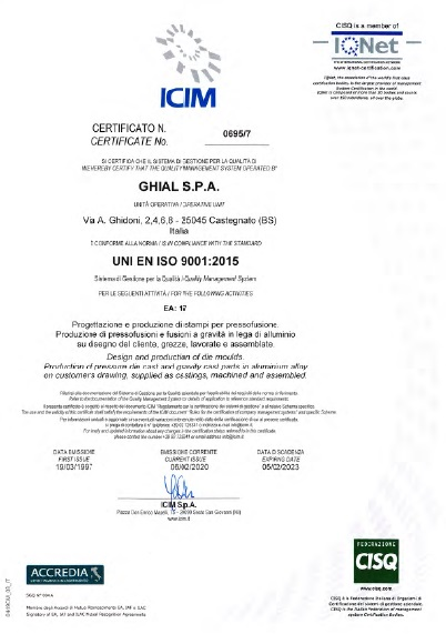 Certificato ICIM: UNI EN ISO 9001:2015 nr 0695/7