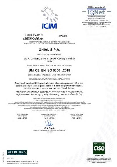 Certificato ICIM: UNI CEI EN ISO 50001:2018 NR. 9783/0
