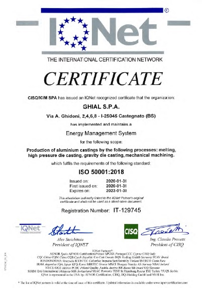 Certificato IQNet: ISO 50001:2018 NR. IT-129745